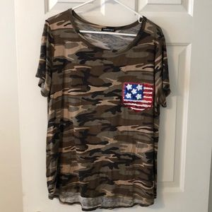Tops - Camo T Shirt with Sequin Flag